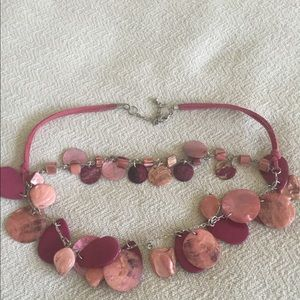 Jewelry - Necklace earring set Rope chain pink/mauve tones